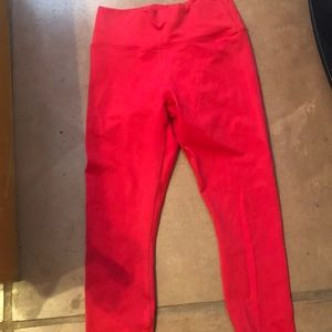 Fabletics Red Cross Back Tights/Capris